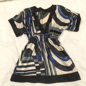 Eyeshadow kimono top black blue white size large